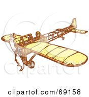 Royalty Free RF Clipart Illustration Of A Pilot Flying A Simple Plane On A White Background by xunantunich