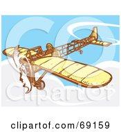 Royalty Free RF Clipart Illustration Of A Pilot Flying A Simple Plane In The Sky