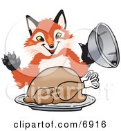 Clipart Picture Of A Fox Mascot Cartoon Character Serving A Thanksgiving Turkey On A Platter by Toons4Biz