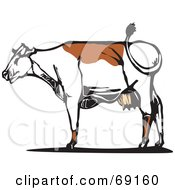 Royalty Free RF Clipart Illustration Of A Brown And White Cow Whipping Its Tail