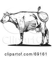 Royalty Free RF Clipart Illustration Of A Black And White Wood Textured Carved Cow In Profile