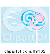 Blue Background With Pink And Blue Spiral Trees