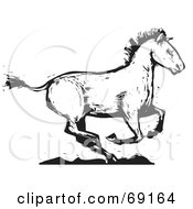 Royalty Free RF Clipart Illustration Of A Black And White Wood Carved Texture Horse Running