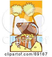 Royalty Free RF Clipart Illustration Of A Treasure Chest With Gold And Skulls On A Tropical Beach by xunantunich