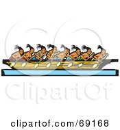 Team Of Mayan Men Rowing A Boat