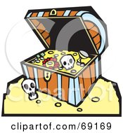 Royalty Free RF Clipart Illustration Of An Open Treasure Chest With Gold And Skulls by xunantunich
