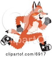 Clipart Picture Of A Fox Mascot Cartoon Character Running by Toons4Biz