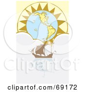 Royalty Free RF Clipart Illustration Of A Sailing Ship In A Cloud Sea In Front Of A Sun Globe