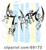 Royalty Free RF Clipart Illustration Of An Energetic Monkeys Jumping In Front Of A White Blue And Yellow Background