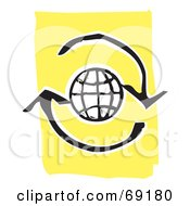 Royalty Free RF Clipart Illustration Of A Black And White Globe With Refresh Arrows