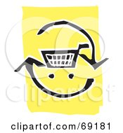 Royalty Free RF Clipart Illustration Of A Black And White Shopping Cart With Refresh Arrows
