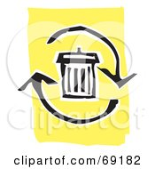 Royalty Free RF Clipart Illustration Of A Black And White Trash Can With Refresh Arrows