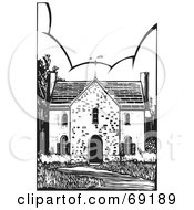 Royalty Free RF Clipart Illustration Of A Black And White Old Stone House With A Weather Vane And Path by xunantunich