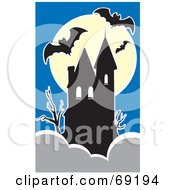 Royalty Free RF Clipart Illustration Of A Full Moon Behind A Haunted House With Bats Against A Blue Sky by xunantunich