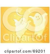 Orange Ghost Halloween Background