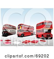 Royalty Free RF Clipart Illustration Of Three Old Double Decker London Buses On Tiles by leonid