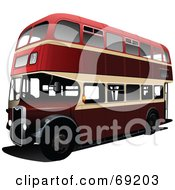Royalty Free RF Clipart Illustration Of A 3d Red Double Decker London Bus On White by leonid