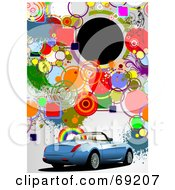Royalty Free RF Clipart Illustration Of A Funky Colorful Background With A Blue Convertible Car And A Blank Black Circle With Copyspace