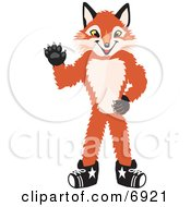 Clipart Picture Of A Fox Mascot Cartoon Character Waving by Toons4Biz