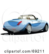 Royalty Free RF Clipart Illustration Of A Blue Convertible Car With The Top Down by leonid