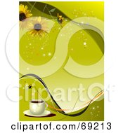 Royalty Free RF Clipart Illustration Of A Yellow Restaurant Menu Background With Sunflowers Stars Sparkles And Coffee