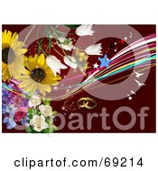 Royalty Free RF Clipart Illustration Of A Red Wedding Background With Flowers Stars Birds And Rings