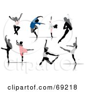 Royalty Free RF Clipart Illustration Of A Digital Collage Of Male And Female Ballet Dancer Silhouettes In Colorful Clothes by leonid