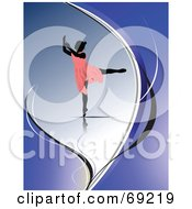 Royalty Free RF Clipart Illustration Of A Silhouetted Graceful Ballerina Girl In A Pink Dress On A Blue Background by leonid