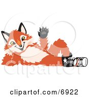 Clipart Picture Of A Fox Mascot Cartoon Character Lying On His Back And Waving by Toons4Biz