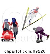 Royalty Free RF Clipart Illustration Of A Digital Collage Of A Skier Curler And Tobogganers