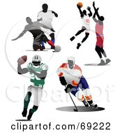 Royalty Free RF Clipart Illustration Of A Digital Collage Of Soccer Basketball Football And Hockey Players by leonid