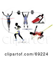 Royalty Free RF Clipart Illustration Of A Digital Collage Of Five Silhouetted Athletic Men Runners Weight Lifter Gymnast And Pole Vaulter by leonid
