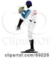Royalty Free RF Clipart Illustration Of A Professional Baseball Player Pitching by leonid