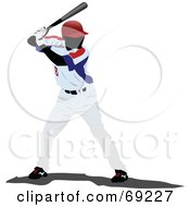 Royalty Free RF Clipart Illustration Of A Professional Baseball Player Batting by leonid