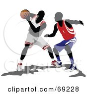 Royalty Free RF Clipart Illustration Of Basketball Players Competing In A Game