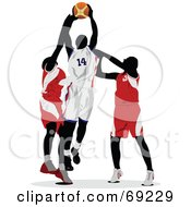 Royalty Free RF Clipart Illustration Of Three Basketball Players Competing In A Game by leonid