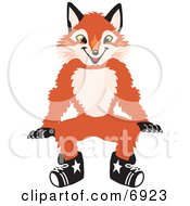 Clipart Picture Of A Fox Mascot Cartoon Character Sitting by Toons4Biz