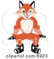 Fox Mascot Cartoon Character Sitting