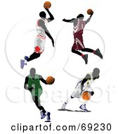 Royalty Free RF Clipart Illustration Of A Digital Collage Of Four Jumping Running And Dribbling Basketball Players