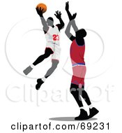 Royalty Free RF Clipart Illustration Of Two Basketball Players Competing In A Game by leonid