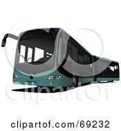 Royalty Free RF Clipart Illustration Of A Modern Blue City Bus by leonid