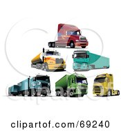 Royalty Free RF Clipart Illustration Of A Digital Collage Of Six Big Rig Trucks