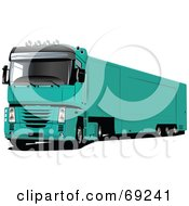 Royalty Free RF Clipart Illustration Of A Green 3d Lorry Truck by leonid