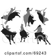 Royalty Free RF Clipart Illustration Of A Digital Collage Of Six Rodeo Cowboys On Bulls