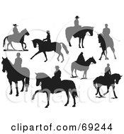 Royalty Free RF Clipart Illustration Of A Digital Collage Of Eight Silhouettes Of People On Horses