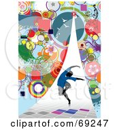 Royalty Free RF Clipart Illustration Of A Male Dancer On Tile On A Funky Colorful Background by leonid