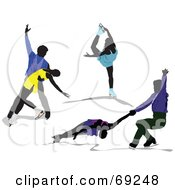 Royalty Free RF Clipart Illustration Of A Digital Collage Of Figure Skaters by leonid