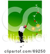Royalty Free RF Clipart Illustration Of A Green Summer Golfer Background With Flowers Birds And Stars by leonid