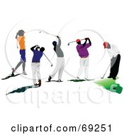Royalty Free RF Clipart Illustration Of A Digital Collage Of Five Male Golfers by leonid
