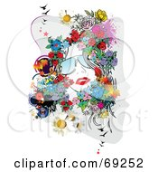 Royalty Free RF Clipart Illustration Of A Woman With Red Lips Sunglasses And Flowers Around Her Face